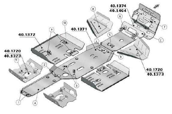 Защита днища для квадроцикла Polaris 800 EFI с 2011-
