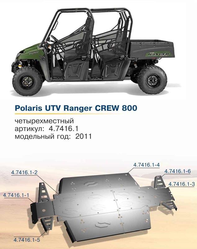 Защита днища для Polaris UTV Ranger Сrew 800